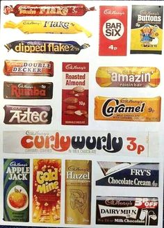 Large Steel Sign - Cadbury`s (Wrappers) 70s Sweets, Vintage Sweets, Retro Sweets, Vintage Food, Vintage Ads, 1970s Childhood, My Childhood Memories, Sweet Memories, Chocolate Brands