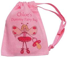 PERSONALISED PINK DUMMY BAG - FAIRY DESIGN - TINY DRAWSTRING BAG Supplied Empty Personalised GIRL DUMMY FAIRY DESIGN Tiny Pink Drawstring Bag