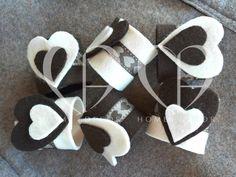 Napkin felt ivory and chocolate