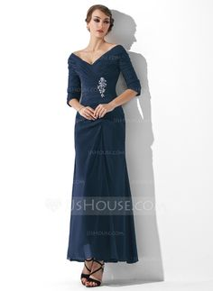 A-Line/Princess Off-the-Shoulder Ankle-Length Ruffle Beading Zipper Up Sleeves 1/2 Sleeves No Black Fall General Plus Chiffon Mother of the Bride Dress