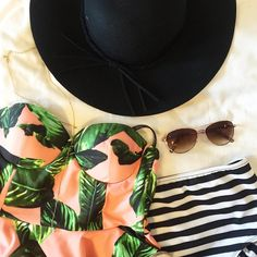{Izabal Peplum Tankini paired with Stripies 101 High Waisted Bikini Bottoms} - all ready for the beach | @albionfit
