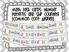 Number Patterns & Skip Counting Task Cards CCSS (I also have a primary version:) Teaching Math, Maths, Teaching Resources, Teaching Ideas, First Grade Math, Grade 3, Fourth Grade, Number Patterns, Math Task Cards
