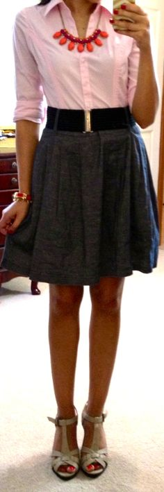 Flare skirt w/button up and belt (source: http://hello-gorgeous-blog.blogspot.com/p/threads.html?m=1)
