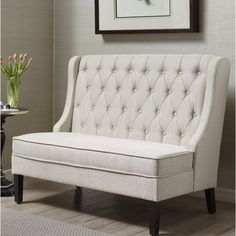 Add stylish seating to your entryway or living room with this Pulaski upholstered banquette bench. Corner Dining Bench, Banquette Seating In Kitchen, Kitchen Benches, Entryway Bench, High Back Dining Bench, Entryway Furniture, Modern Furniture, Settee Dining, Upholstered Dining Bench