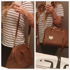 """Michael kors Jetset handbag Michael kors Luggage colored handbag . EXCELLENT condition! Zip top closure, longer strap, 12"""" wide 10"""" height.  Comes with MK dust bag I WILL ONLY TRADE FOR LULU OR TORY BURCH I will consider fair offers :) Michael Kors Bags Satchels"""