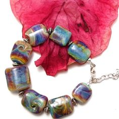 Lampwork Glass Bead Bracelet