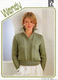 L7150  ladies knitting pattern pdf download ladies sweater knitting pattern womens sweater cable panel jumper collar 32-38 DK light worsted 8ply  All patterns are in English. Please refer to the pictures above for information from pattern on sizes, materials used, needle size etc. Click on the white arrow half way up the picture on the right side. Where a discontinued yarn is used, I check the needle size for a modern equivalent and include in the description. This is meant as a guide only…
