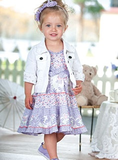 white jean jacket with pretty lilac print dress (I could sew the dress and buy the jacket) Cute!