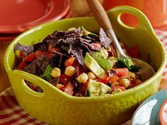 Crunchy Avocado Salad recipe from Bobby Flay via Food,  Network.  To me, this is a basic salad recipe, with some Bobby oomph to it.  Protein: Chickpeas