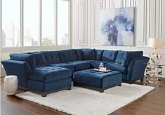 Cindy Crawford Home Metropolis Navy 4 Pc Sectional Living Room Set includes Cocktail Ottoman & 3 Pc Left Arm Chaise Sectional. Find affordable Living Room Sets for your home that will complement the rest of your furniture. Living Room Sets, Sectional Living Room Sets, Cheap Living Room Sets, Black Living Room Set, Apartment Living Room, Rooms Home Decor, Home Decor, Living Room Sectional, Furniture