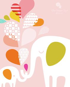 """elephant mommy & baby 8X10"""" giclee print on fine art paper. pink, white, rainbow"""