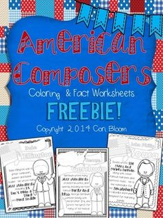 WEEK 18 FREE on TpT - American Composers Coloring Sheet - Cori Bloom - Includes 6 pages on 6 composers. Music Anchor Charts, John Philip Sousa, 20th Century Music, Music Composers, Piano Teaching, Music Activities, Elementary Music, Music Classroom, Music Theory