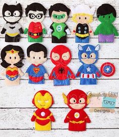 Complete set heroes Finger Puppet Set by GracefullyGeeky on Etsy, Felt Puppets, Felt Finger Puppets, Felt Diy, Felt Crafts, Craft Projects, Sewing Projects, Felt Books, Quiet Books, Felt Patterns