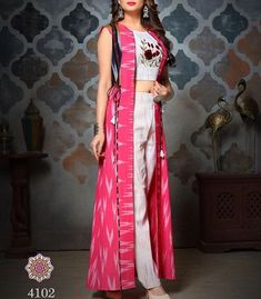 Designer dresses indian - Off white palazzo with round neckline crop top with embroidered work paired with shrug ethnicwear indianethnic lehenga… Indian Fashion Dresses, Indian Gowns, Indian Designer Outfits, Indian Kurta, Nyc Dresses, Shrug For Dresses, Spring Dresses, Casual Skirt Outfits, Stylish Dresses