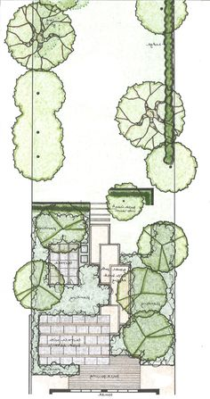 Long and narrow garden plan with interesting variety of overlapping paving materials.
