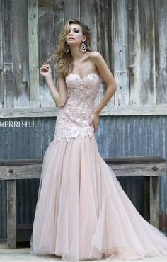 Sherri Hill ivory lace over nude fit and flare #prom2015 #emmysprom