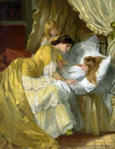 by British artist, Mary Louisa Gow figuarative painter of women and children - comforting daughter Victorian Paintings, Victorian Art, Art Lesbien, Bel Art, Art Ancien, Art Vintage, Lesbian Art, Classical Art, Renaissance Art