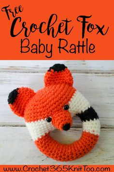 I love this crochet fox rattle. So cute for a baby! #babyrattle #crochetbabyrattle #crochetrattle