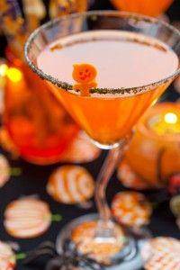 Jack o drop halloween cocktail made with Pinnacle pumpkin pie vodka.