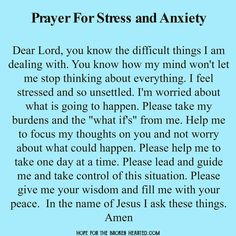 Prayer for stress and anxiety … #PanicAttackPrayer