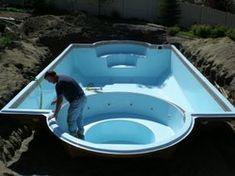 Spa and pool - fiberglass modular pool small   Fiberglass Pool, Indoor Outdoor Fountains, Fiberglass Indoor Fountain ...