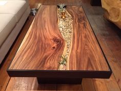 Monkey wood coffee table with stones