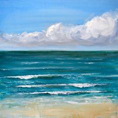 Fine Art Print de peinture à l'huile / / « Salé Blues » Dans l'original j'ai utilisé la peinture à l'huile pour créer une texture épaisse pour les nuages et les vagues. J'ai aussi utilisé un couteau pour donner à la plage une texture sableuse, grattage peinture lumière sur la surface. J'aime la peinture à l'huile pour d'elle couleurs vives. Formats d'impression fine art : 8 x 8 10 x 10 16 x 16 po. 20 x 20 Imprimé sur papier 100 % coton rag mat épais de base avec un poids de 300 g...