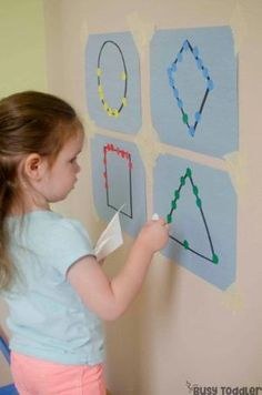 STICKER SHAPES: A quick and easy fine motor skills activity that toddlers will love! This easy small motors activity is perfect for toddlers; a quick and easy preschool math activity; easy indoor activity from Busy Toddler by marissa Motor Skills Activities, Preschool Learning Activities, Preschool Math, Infant Activities, Math Skills, Toddler Fine Motor Activities, Preschool Shape Activities, Toddler Preschool, Math Math