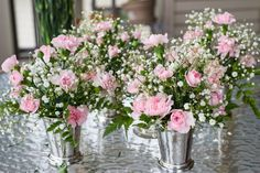 DIY Mint Julep Cup Flower Arrangements with Pink Carnations, Baby's Breath, and Leatherleaf
