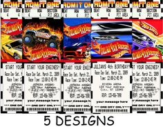 Diy Printable Hot Wheels Birthday Party Invitations Party