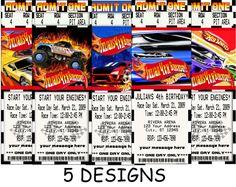 Hot Wheels Admit one ticket style Boys Birthday Party Invitation