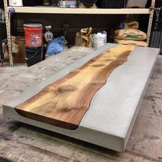 Concrete & walnut console table ready for delivery. Need a statement piece? Find a local craftsman. #handmade #furniture #mckinney #concrete #consoletable #liveedge #walnut #concretefurniture #table #concretecountertops #gfrc #craftsman #custom #smallbusiness #makers #concretetable #design #beton #timber #kdk