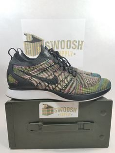 2a8e90027d6d Nike Air Zoom Mariah Flyknit Racer SZ 13 White Black Volt Blue 918264-101   Nike  AthleticSneakers