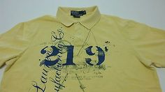Polo Ralph Lauren Manufacturing Mens Large Custom Fit Yellow Graphic Polo Shirt