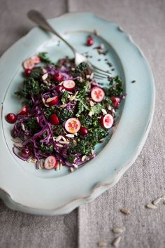 Tuscan kale, cabbage and beluga lentil salad with cranberries :: Sonja Dahlgren/Dagmar's Kitchen