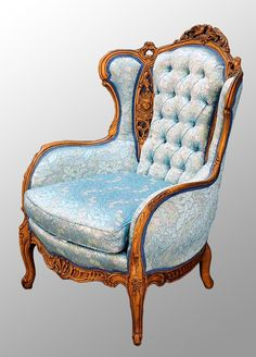Antique Carved Walnut French Victorian Chair with Heads and Birds to match the loveseat