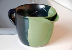 Men's Shaving Scuttle for Traditional Wet Shave Fans in Bright Green and Black Lapis by moonstarpottery on Etsy