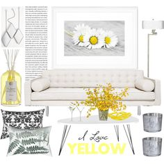 living room _ yellow by by-jwp on Polyvore featuring interior, interiors, interior design, home, home decor, interior decorating, Safavieh, Giclee Gallery, LSA International and Antica Farmacista
