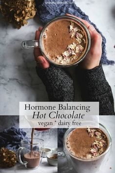 This hormone balancing hot chocolate with maca and cinnamon is delicious, full of antioxidants, boosts energy levels and improves mood. #hormonebalancing #hotchocolate #macapowder #vegan #paleohotchocolate #dairyfree #cinnamon #cacao #calmeats #veganhotchocolate #veganchocolate #whole30