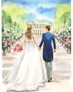 Wedding Drawing, Wedding Dress Sketches, Wedding Painting, Wedding Art, Watercolor Wedding, Wedding Couples, Cute Couples, Couple Sketch, Couple Drawings