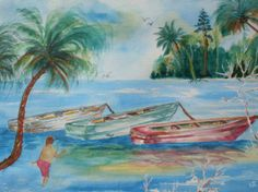 11 X 15 watercolor painting of Boats @ Casey Key. 150. Original / Prints available