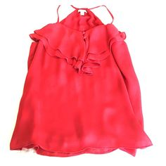 Red blouse Red banana republic blouse. Racer back. Ruffle detail at front. Loose fit. Banana Republic Tops Blouses