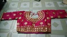 Blouse stuff: Golden Gota Patti work on Dhupian fabric, max one can alter according to size. Blouse Styles, Blouse Designs, Floral Tops, Blouses, Fabric, Women, Fashion, Tejido, Moda