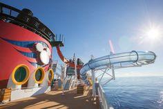 Slide on The Disney Magic Aqua Dunk over the ocean