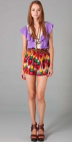 Alice + Olivia Smocked Waist Play Shorts. obsessed with this whole outfit