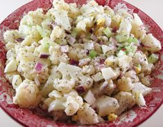 By Kath Dedon . I don't have anything against potatoes. In fact, I love potatoes and I eat potatoes. But I was intrigued when I saw Elana's recipe for No Potato Salad. She uses cauliflower f… Low Carb Menus, Potato Salad, Cauliflower, Cabbage, Salads, Clean Eating, Potatoes, Vegetables, Ethnic Recipes