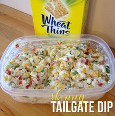 Skinny Tailgate Dip ] 1 red pepper 2 jalapeños (unseeded) 1 can of corn 1/2 can diced olives 16 oz fat-free cream cheese (softened) 1 packet Hidden Valley Ranch dip seasoning mix