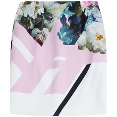 Preen Printed Skirt found on Polyvore featuring skirts, bottoms, preen, florals, jersey skirt, preen skirt, pink jersey, flower print skirt and floral skirt