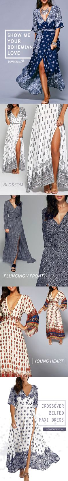 Boho dresses that we love! Show your elegance and beauty with Sammydress's bohemian maxi dress! Plunging V front makes your collarbones and shoulder line prettier and sexier! High-cut slit make your legs look longer and slimmer! Chic design with various choices. Great choice for dating, party and travel! You can always find the right dress at www.sammydresss.com!