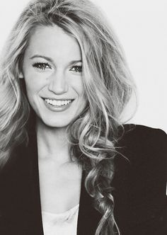 Love this shot of Blake Lively.  Repinning under beauty for the hair, sleek blazer, and natural makeup look.  She's very pretty.